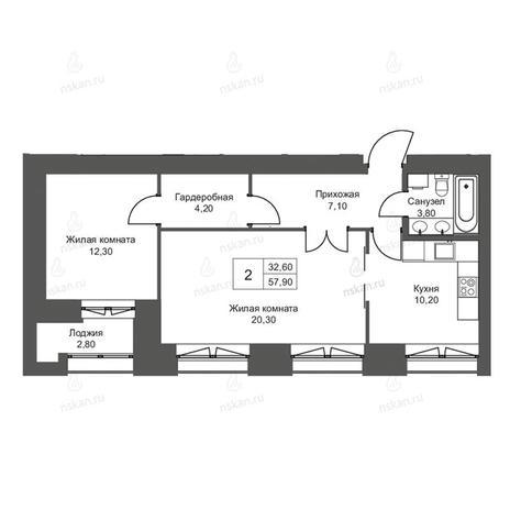 Вариант №2700, 2-комнатная квартира в жилом комплексе Онега