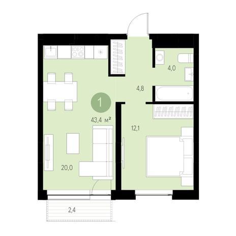 Вариант №4676, 2-комнатная квартира в жилом комплексе Европейский Берег