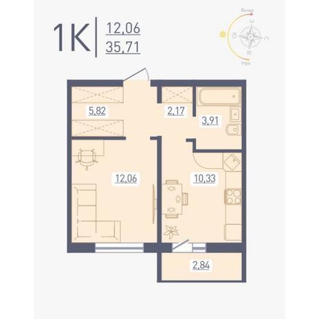 Вариант №4890, 1-комнатная квартира в жилом комплексе
