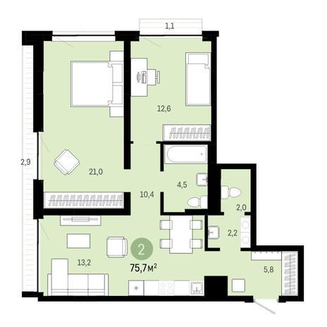 Вариант №6399, 3-комнатная квартира в жилом комплексе
