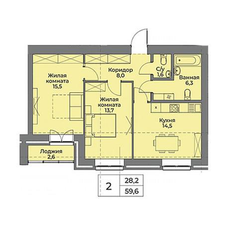 Вариант №3959, 2-комнатная квартира в жилом комплексе