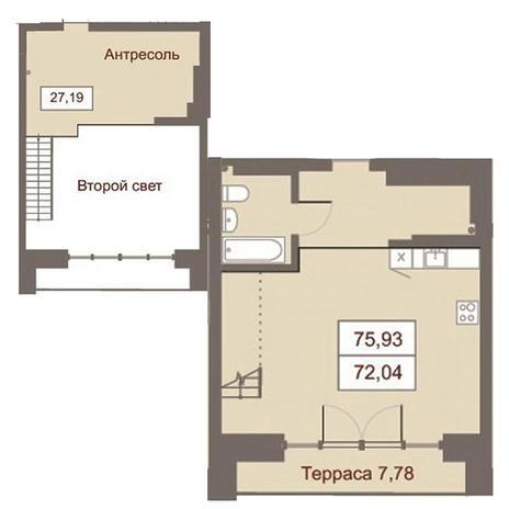Вариант №2872, 2-комнатная квартира в жилом комплексе Дом на Чаплыгина