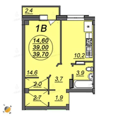 Вариант №2363, 1-комнатная квартира в жилом комплексе Аэропорт