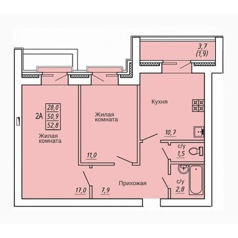Вариант №4318, 2-комнатная квартира в жилом комплексе