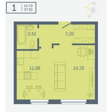 Вариант №4748, 1-комнатная квартира в жилом комплексе