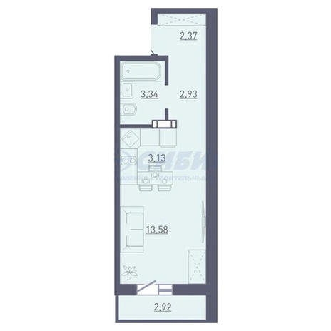 Вариант №3749, 1-комнатная квартира в жилом комплексе