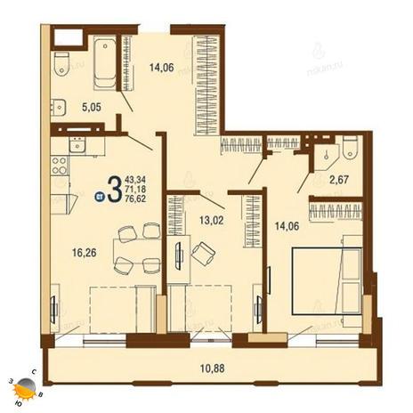 Вариант №1810, 3-комнатная квартира в жилом комплексе На Доватора