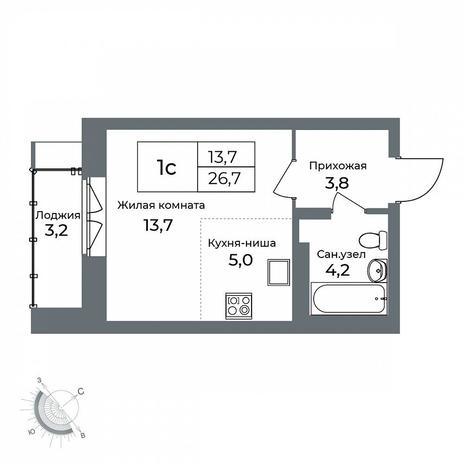 Вариант №5614, 1-комнатная квартира в жилом комплексе