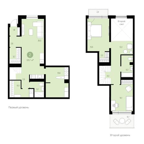 Вариант №4634, 3-комнатная квартира в жилом комплексе