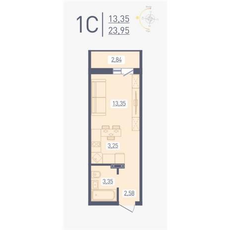 Вариант №4868, 1-комнатная квартира в жилом комплексе