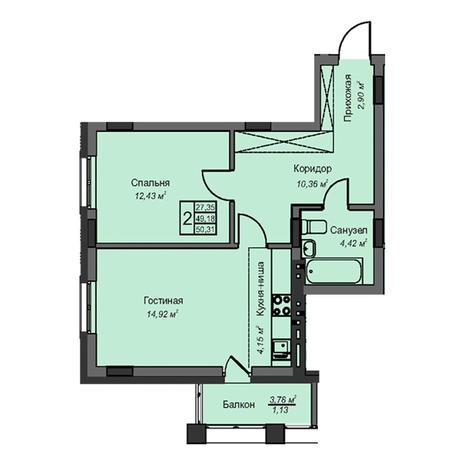 Вариант №3084, 2-комнатная квартира в жилом комплексе