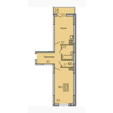 Вариант №4548, 1-комнатная квартира в жилом комплексе Новые Матрешки