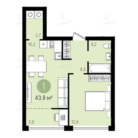Вариант №2595, 2-комнатная квартира в жилом комплексе Квартал на Никитина