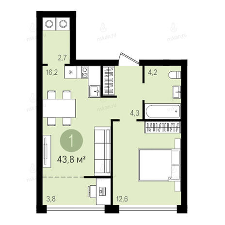 Вариант №2595, 2-комнатная квартира в жилом комплексе