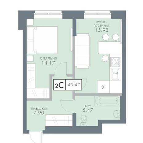 Вариант №2827, 2-комнатная квартира в жилом комплексе Ключевой