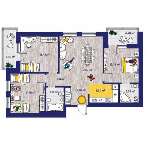 Вариант №4381, 4-комнатная квартира в жилом комплексе Новые Снегири