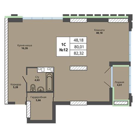 Вариант №2961, 3-комнатная квартира в жилом комплексе