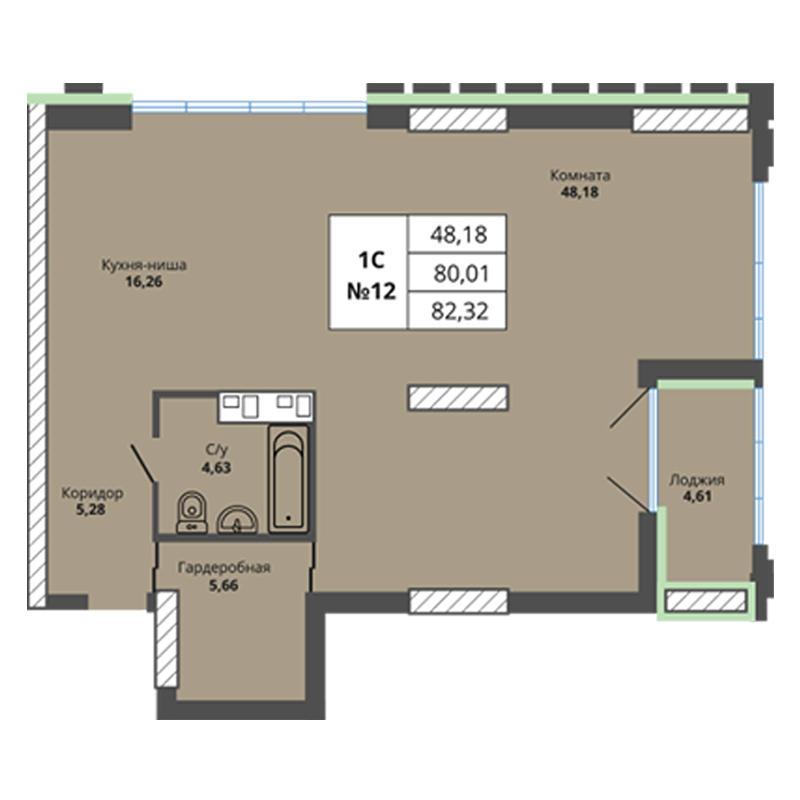 Планировка 3-комн. студия площадью 82.32 м<sup>2</sup> в ЖК Prime House