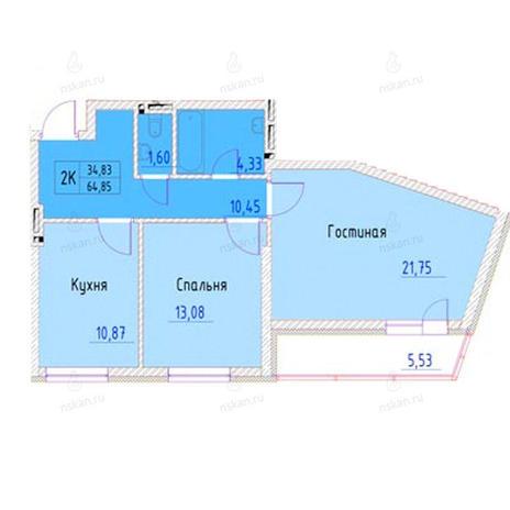 Вариант №949, 2-комнатная квартира в жилом комплексе Беркут хаус