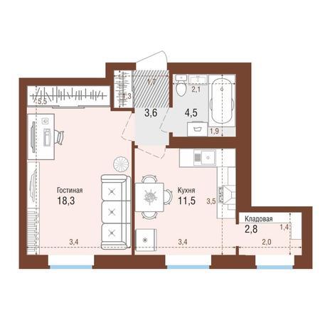 Вариант №4214, 1-комнатная квартира в жилом комплексе Ясный берег
