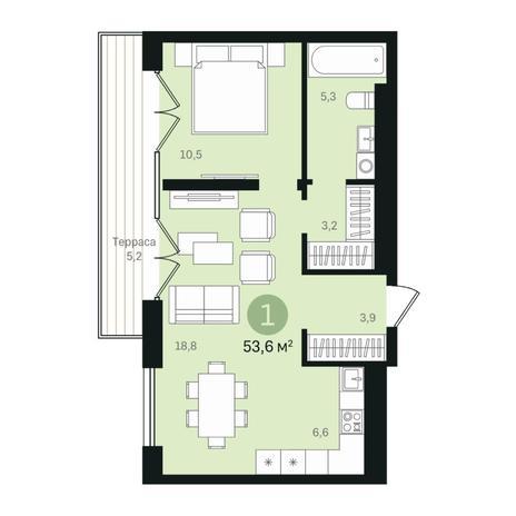 Вариант №6365, 2-комнатная квартира в жилом комплексе
