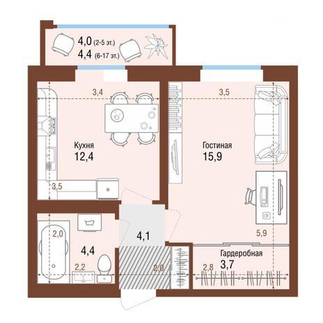 Вариант №4221, 1-комнатная квартира в жилом комплексе Одесса