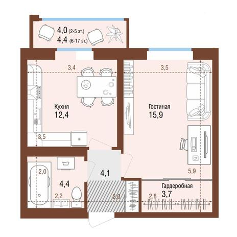 Вариант №4221, 1-комнатная квартира в жилом комплексе