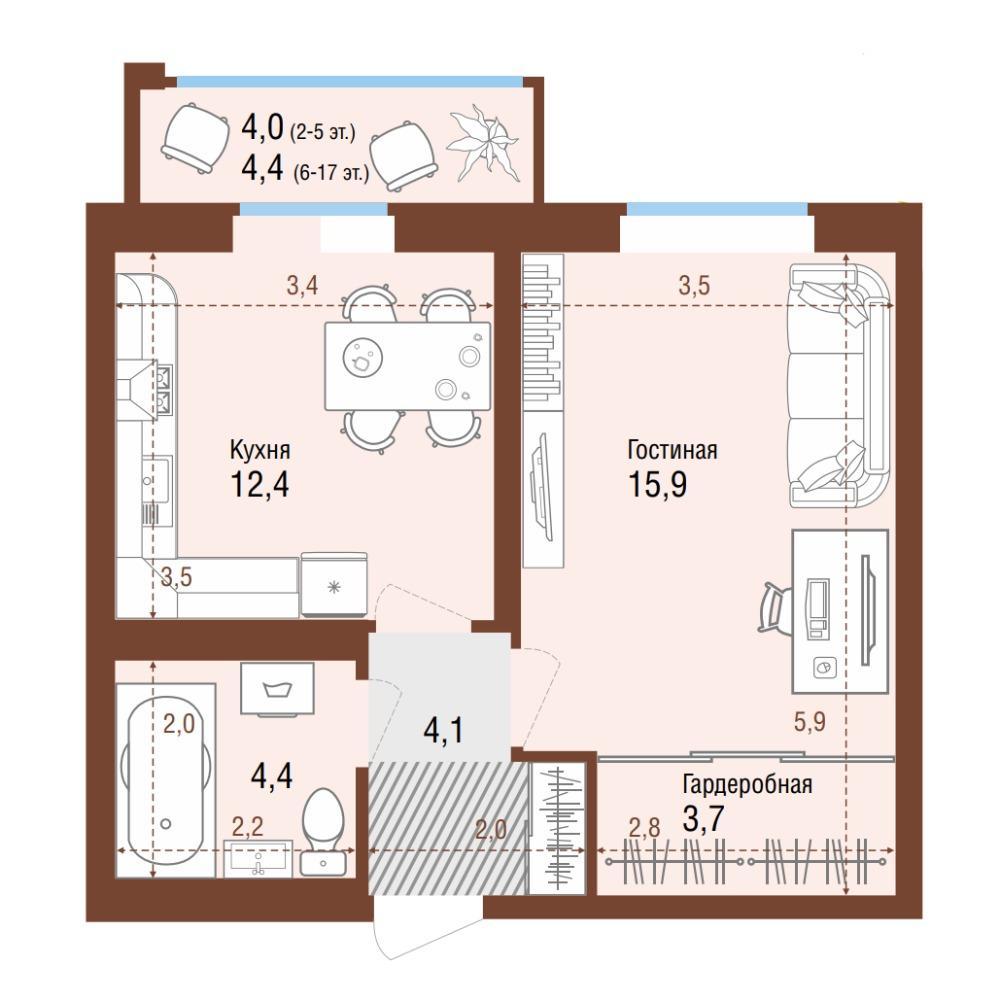 Планировка 1-комнатная площадью 44.9 м<sup>2</sup> в ЖК Одесса