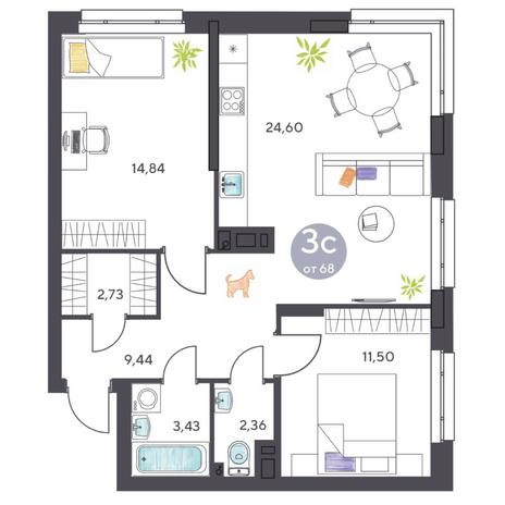 Вариант №5409, 3-комнатная квартира в жилом комплексе Ясный берег