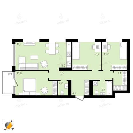 Вариант №2162, 3-комнатная квартира в жилом комплексе