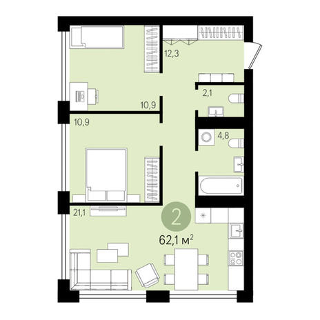 Вариант №3283, 2-комнатная квартира в жилом комплексе