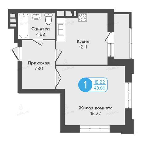 Вариант №988, 1-комнатная квартира в жилом комплексе Огни Сибири