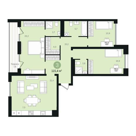 Вариант №6340, 4-комнатная квартира в жилом комплексе