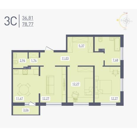 Вариант №4883, 3-комнатная квартира в жилом комплексе Радуга Сибири