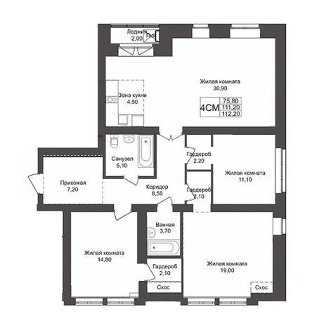 Вариант №3160, 4-комнатная квартира в жилом комплексе