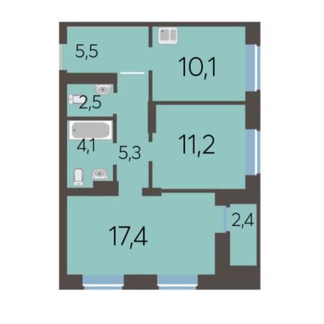 Вариант №5780, 2-комнатная квартира в жилом комплексе