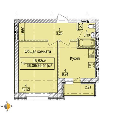 Вариант №2255, 1-комнатная квартира в жилом комплексе Дивногорский