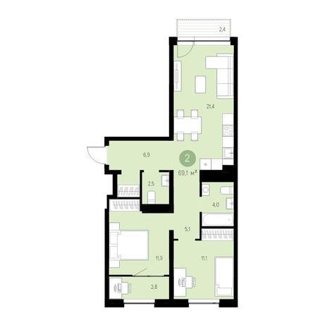 Вариант №4706, 3-комнатная квартира в жилом комплексе
