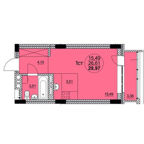 Вариант №3755, 1-комнатная квартира в жилом комплексе