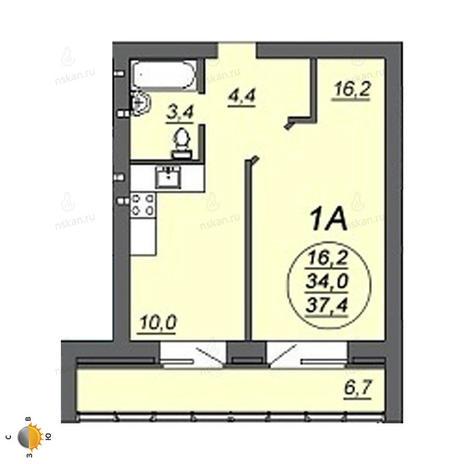 Вариант №2230, 1-комнатная квартира в жилом комплексе