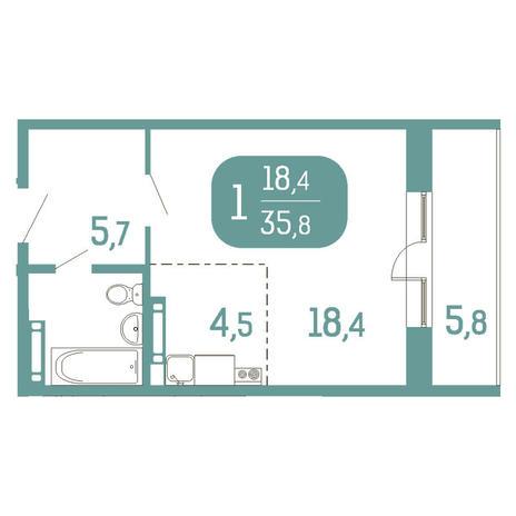 Вариант №2907, 1-комнатная квартира в жилом комплексе Аквамарин