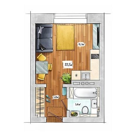 Вариант №3950, 1-комнатная квартира в жилом комплексе БонАпарт