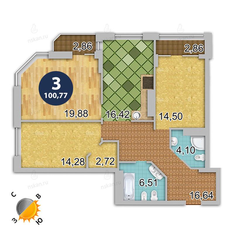 Планировка 3-комнатная площадью 100.77 м<sup>2</sup> в ЖК Шесть звезд