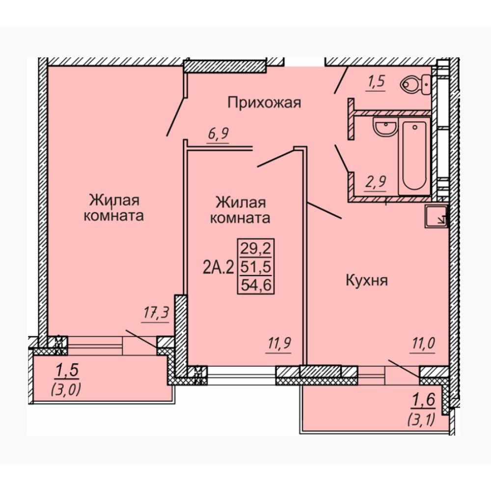 Планировка 2-комнатная площадью 54.6 м<sup>2</sup> в ЖК Новые Матрешки