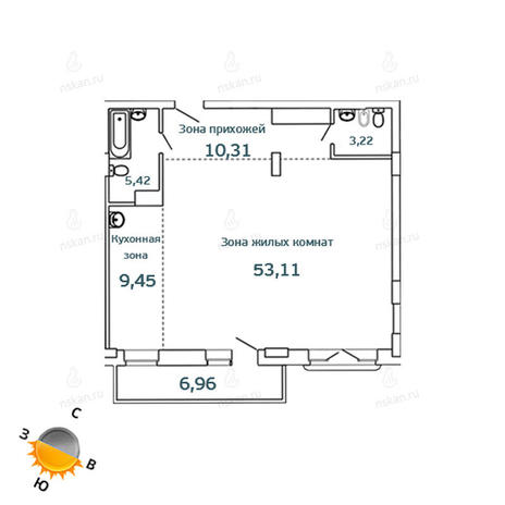 Вариант №1073, 2-комнатная квартира в жилом комплексе Тайм (Time)