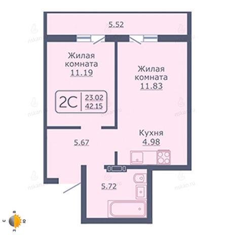 Вариант №2052, 2-комнатная квартира в жилом комплексе Радуга Сибири