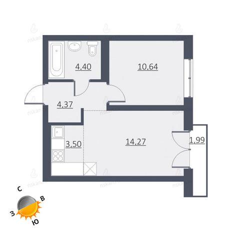 Вариант №1654, 2-комнатная квартира в жилом комплексе Дунаевский