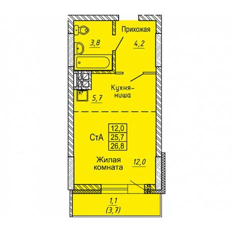 Вариант №5647, 1-комнатная квартира в жилом комплексе