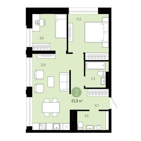 Вариант №4831, 3-комнатная квартира в жилом комплексе Европейский Берег