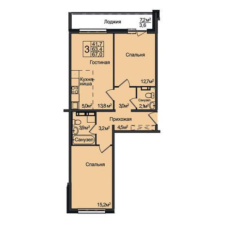 Вариант №3100, 3-комнатная квартира в жилом комплексе